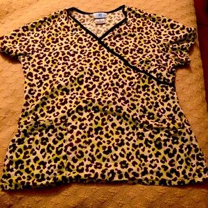 Cheetah print scrub top